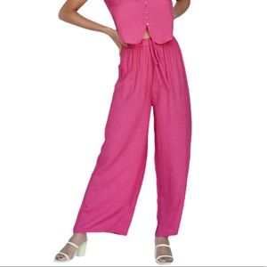 Callahan Knitwear Hot Pink Wide Leg Nia Pants NWT